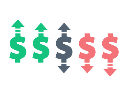 derivation: Colorful dollar up and down sign icon. Vector graphic illustration template. Isolated on white background.