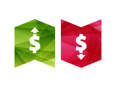 ascent: Colorful currency up and down sign icon on green and red badge banner. Vector graphic illustration template. Isolated on white background.