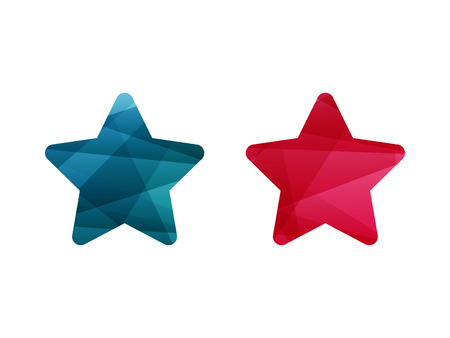 adaptable: Colorful shiny geometric blue and red star sign icon badge banner. Vector graphic illustration template. Isolated on white background.
