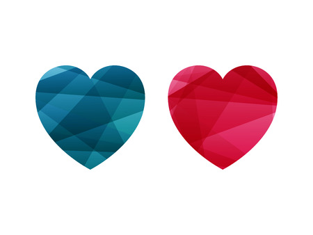 Heart shaped vector graphic with shiny geometric triangular stripe background. Contemporary abstract sign concept.