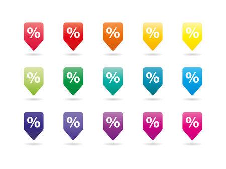 Set of colorful rainbow spectrum sale percent badges signs vector graphic illustration template isolated on white background Ilustração