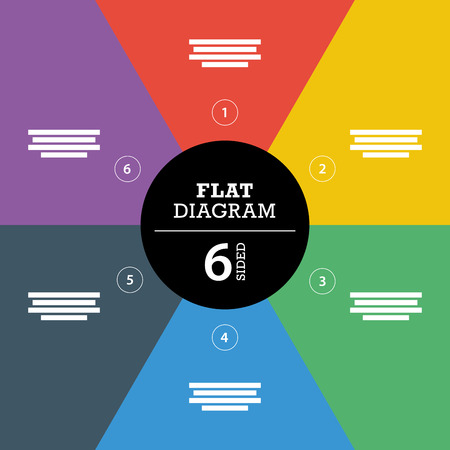 explanatory: Colorful flat full background stripe puzzle presentation diagram infographic template with explanatory text field Illustration