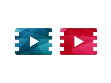 Glossy shiny blue and red film play button icon. Vector graphic template. Isolated on white background.