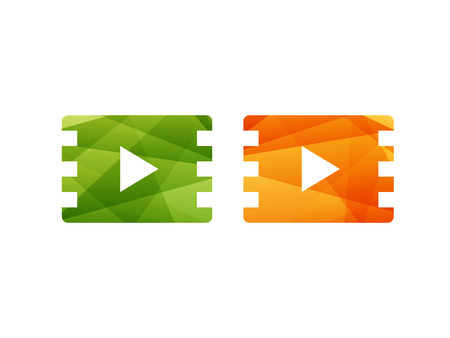 Glossy shiny green and orange film play button icon. Vector graphic template. Isolated on white background.