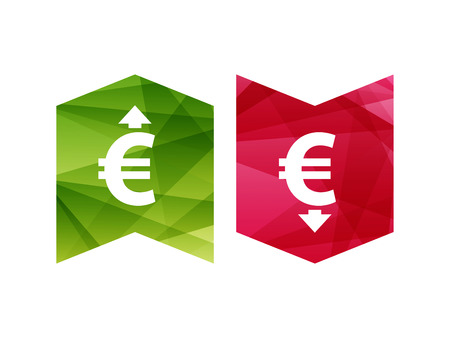 lowering: Colorful currency up and down sign icon on green and red badge banner. Vector graphic illustration template. Isolated on white background.