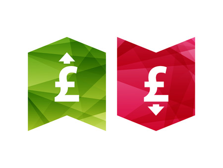 derivation: Colorful currency up and down sign icon on green and red badge banner. Vector graphic illustration template. Isolated on white background.