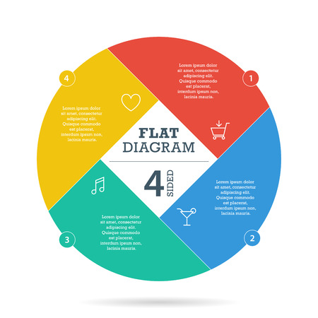 Flat sluiter diagram sjabloon voor uw bedrijf presentatie met tekst gebieden en pictogrammen.