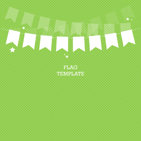 swag: Green banner background. Bunting or swag template for scrapbooking parties, baby showers and sales. Vector graphic template. Illustration