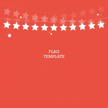 Red star banner background. Bunting or swag template for scrapbooking parties baby showers and sales. Vector graphic template.