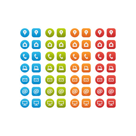 multipurpose: Multipurpose Business Card Icon Set of web icons for business, finance and communication Illustration