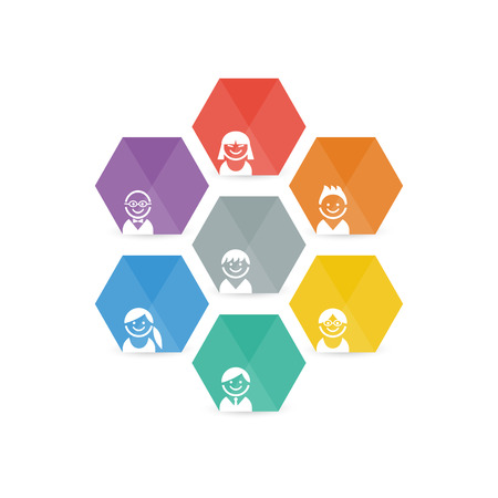 Colorful spectrum collection of abstract geometric avatar faces portraits icon set. Vector graphic template. Ilustração