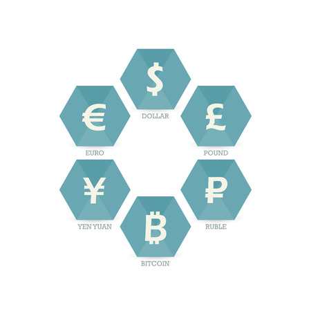 mainstream: Euro Dollar Yen Yuan Bitcoin Ruble Pound Mainstream currencies symbols on geometric sign. Vector illustration graphic template isolated on white background
