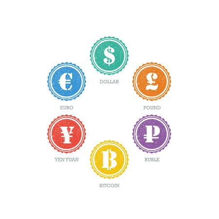 converter: Euro Dollar Yen Yuan Bitcoin Ruble Pound Mainstream currencies symbols on grunge circle sign. Illustration
