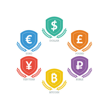 Euro Dollar Yen Yuan Bitcoin Ruble Pound Mainstream currencies symbols on shield sign.  Vector