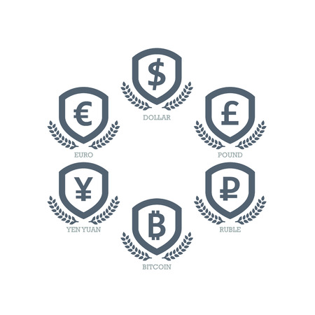 Euro Dollar Yen Yuan Bitcoin Ruble Pound Mainstream currencies symbols on shield sign.  Vector