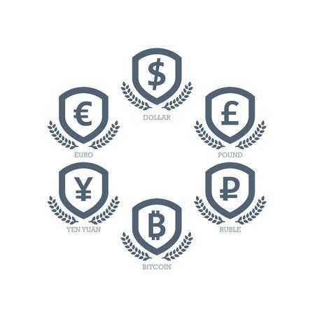 mainstream: Euro Dollar Yen Yuan Bitcoin Ruble Pound Mainstream currencies symbols on shield sign.  Illustration