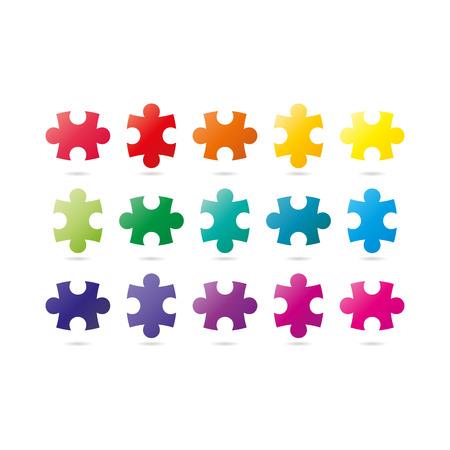 Colorful spectrum rainbow puzzle pieces isolated on white background.  Illusztráció