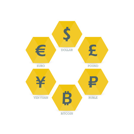 mainstream: Euro Dollar Yen Yuan Bitcoin Ruble Pound Mainstream currencies symbols on geometric sign.  Illustration