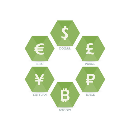 Euro Dollar Yen Yuan Bitcoin Ruble Pound Mainstream currencies symbols on geometric sign.  Vector