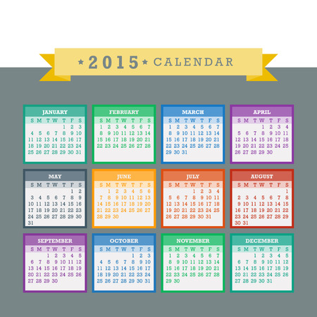 Colorful 2015 Calendar. Week starts with sunday.  Vector