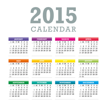 Colorful 2015 Calendar. Week starts with sunday.