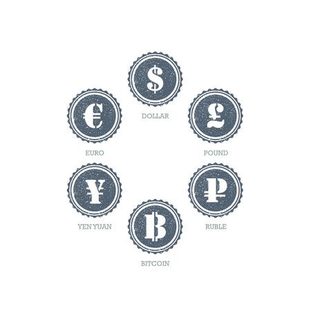 mainstream: Euro Dollar Yen Yuan Bitcoin Ruble Pound Mainstream currencies symbols on grunge circle sign. Illustration