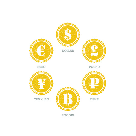 Euro Dollar Yen Yuan Bitcoin Ruble Pound Mainstream currencies symbols on grunge circle sign.