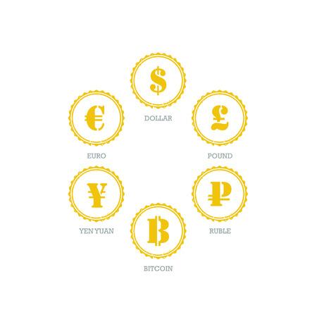 mainstream: Euro Dollar Yen Yuan Bitcoin Ruble Pound Mainstream currencies symbols on grunge circle sign.