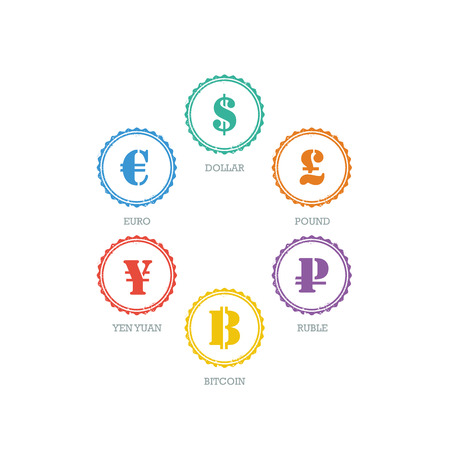 Euro Dollar Yen Yuan Bitcoin Ruble Pound Mainstream currencies symbols on grunge circle sign.  Vector