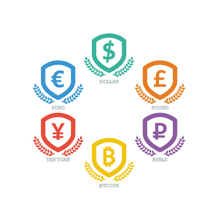 Euro, Dollar, Yen, Yuan, Bitcoin, Ruble, Pound currencies symbols on shield sign Vector