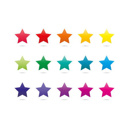 adaptable: Colorful spectrum rainbow star shape icons isolated on white background