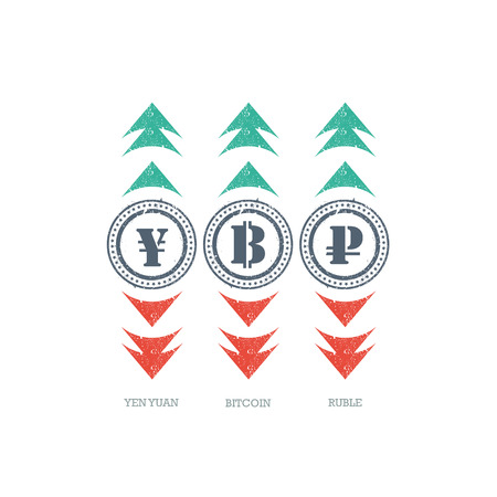 degradation: Grunge currency sign icon with green and red up and down arrows. Vector graphic illustration template. Isolated on white background. Illustration