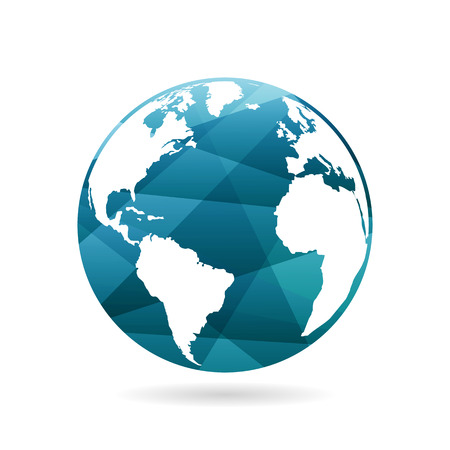 Geometric abstract earth globe sphere concept illustration. Vector graphic template isolated on light white background  イラスト・ベクター素材