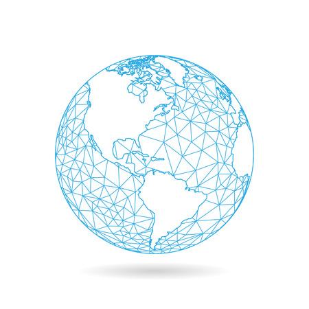 Geometrisch abstract aarde wereld bol concept illustratie. Vector grafische sjabloon geïsoleerd op lichte witte achtergrond Stock Illustratie