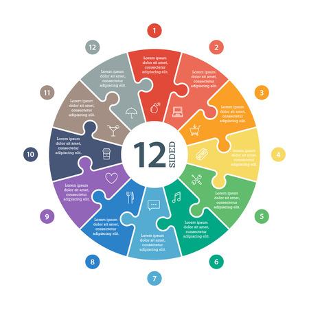 Nummerierte flachen Regenbogen-Spektrum farbige Puzzle Präsentation Infografik Chart Standard-Bild - 34425560