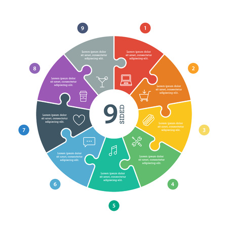 Genummerde platte regenboog spectrum gekleurde puzzel presentatie infographic grafiek