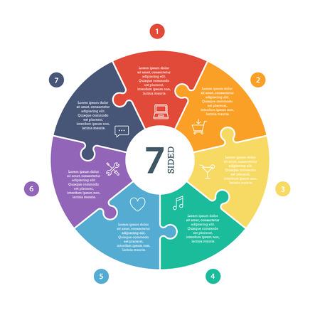 Numbered flat rainbow spectrum colored puzzle presentation infographic chart  Stock Illustratie
