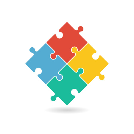 Colorful puzzle pieces forming a square in movement. Vector graphic illustration template isolated on white background.