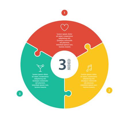Driezijdige, genummerd platte regenboog spectrum gekleurde puzzel presentatie infographic grafiek met verklarende tekst veld op een witte achtergrond. Vector grafische sjabloon. Stock Illustratie