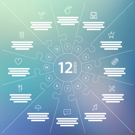 Numbered blurred background puzzle presentation infographic chart with explanatory text field. Vector graphic template.