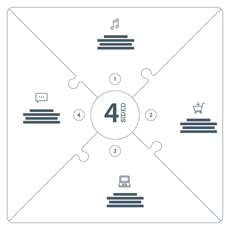Numbered flat line puzzle presentation infographic chart with explanatory text field isolated on white background.