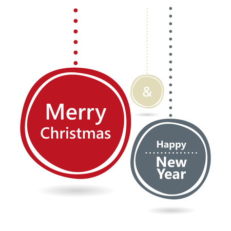 Merry Christmas and Happy New Year card. Vector image.
