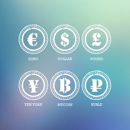yuan: Euro Dollar Yen Yuan Bitcoin Ruble Pound Mainstream currencies symbols on blurred blue background. Vector illustration graphic template. Illustration