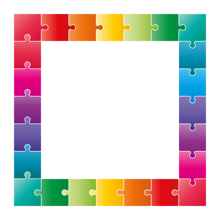 Colorful puzzle pieces forming a square swot diagram. Vector graphic illustration template isolated on white background. Ilustração