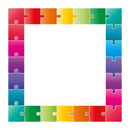 redes de mercadeo: Piezas del rompecabezas de colores formando un diagrama DAFO cuadrado. Vector ilustración gráfica plantilla aisladas sobre fondo blanco.