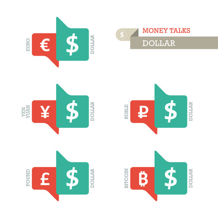 currency converter: Mainstream Euro Dollar Yen Yuan Bitcoin Ruble Pound currency symbols on up and down sign.  Illustration
