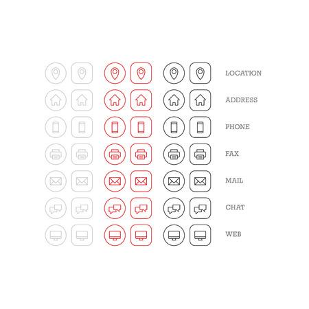 Flat multifunctionele visitekaartje icon set van web iconen voor zakelijke financiën en communicatie. Vector grafische template.