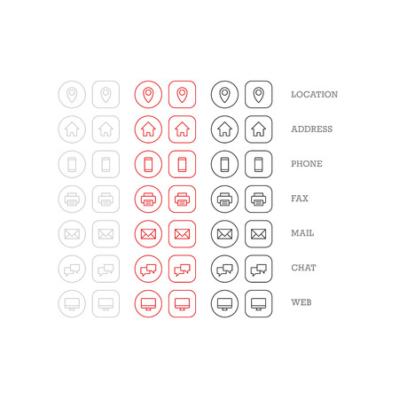 Flat multipurpose business card icon set of web icons for business finance and communication. Vector graphic template.