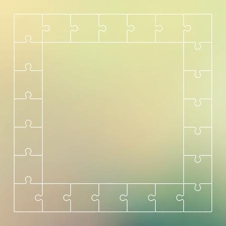 Green puzzle pieces forming a pattern background. Vector illustration graphic. Ilustração