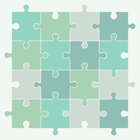 jigsaw pieces: Green puzzle pieces forming a pattern background. Vector illustration graphic. Illustration